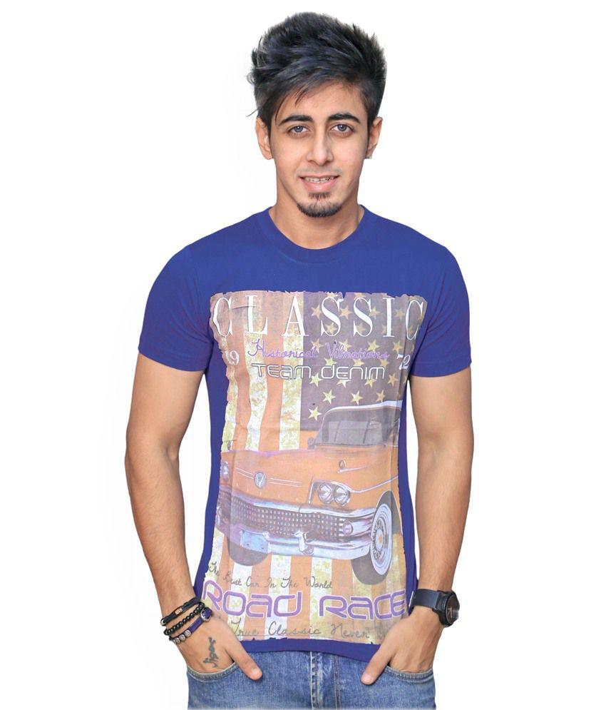 Inddus Men Blue Casual T Shirts