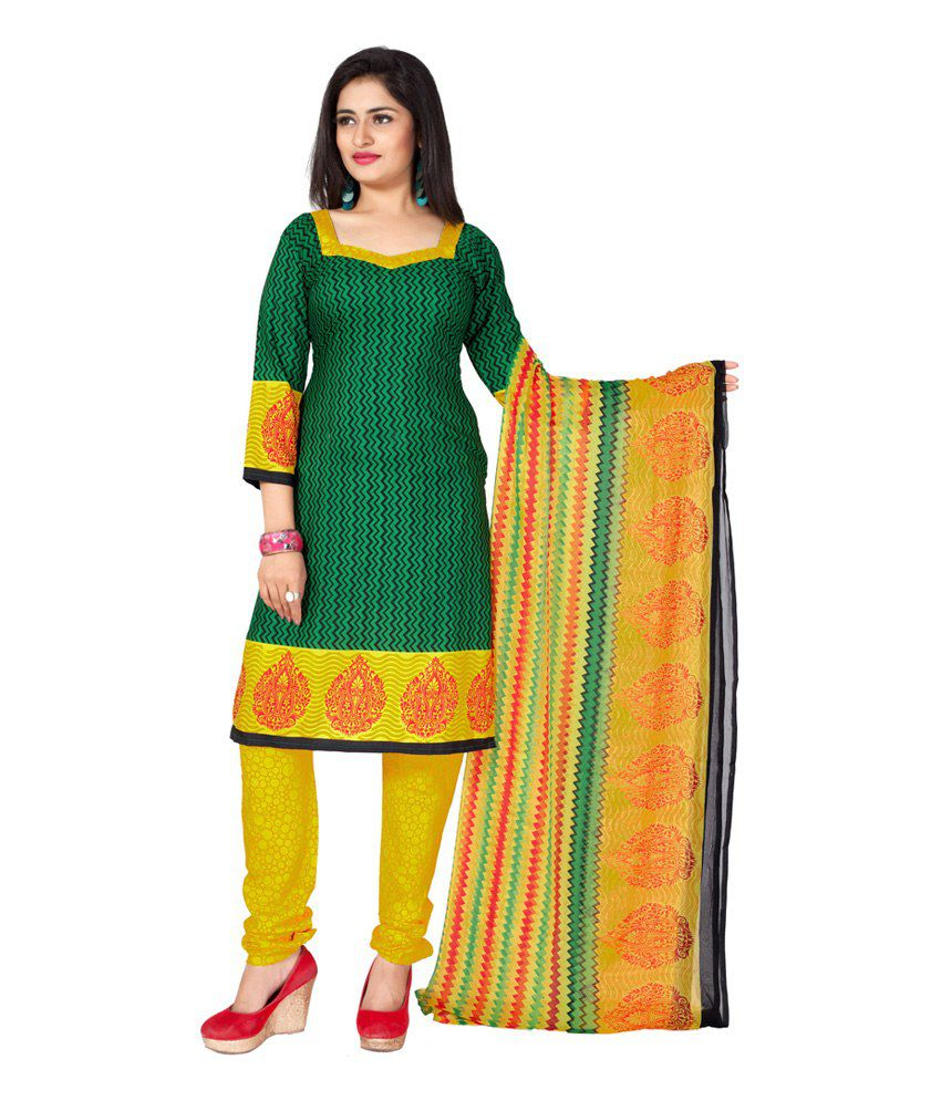 Jiya Green Printed Art Crepe Dress Material with Dupatta