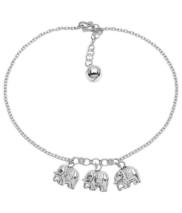 Johareez Pretty Elephant Design 92.5 Sterling Silver Anklet