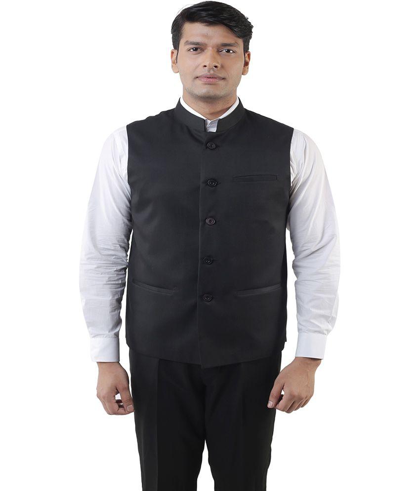 Lee Marc Black Poly Blend Formal Waistcoat