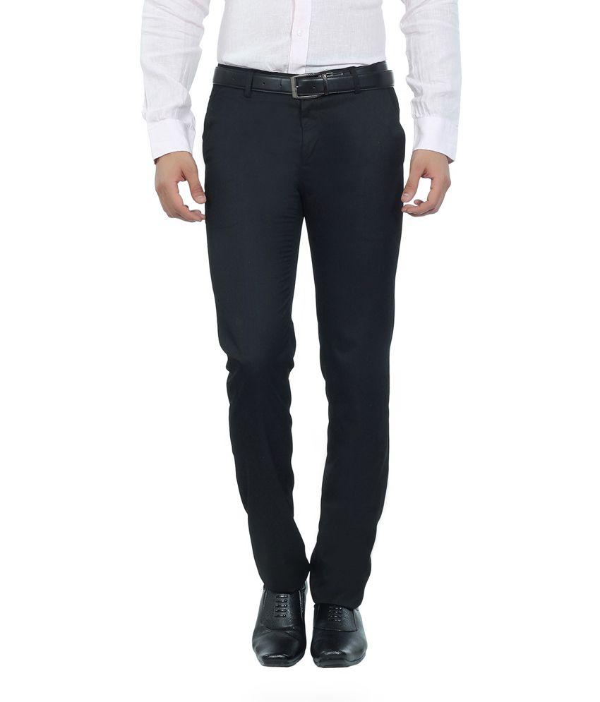 Live In Black Cotton Slim Fit Casual Chinos