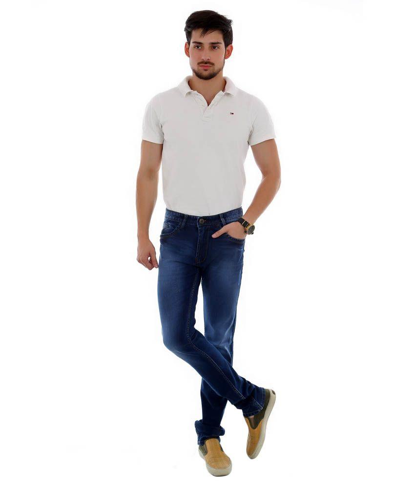 Unison Blue Cotton Slim Fit Jeans For Men