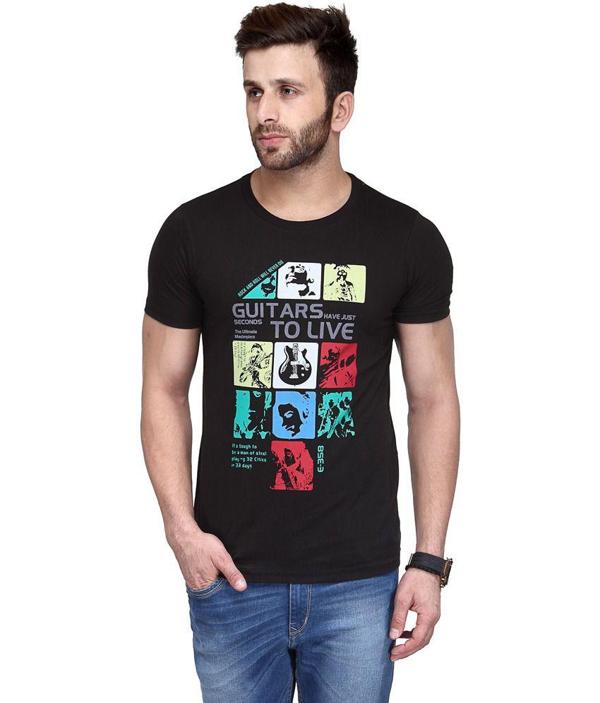 Koolpals Black Cotton Round Neck Music & Bands Half Sleeves T-Shirt