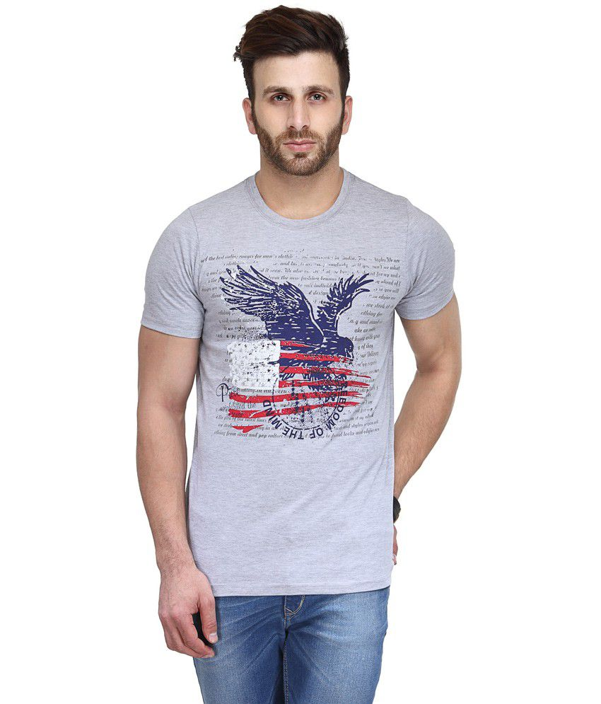 Koolpals Gray Cotton Round Neck Printed Half Sleeves T-Shirt