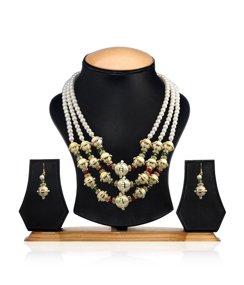 Tina Jewellery Multicolor Antique Pearls Traditional Necklace Set