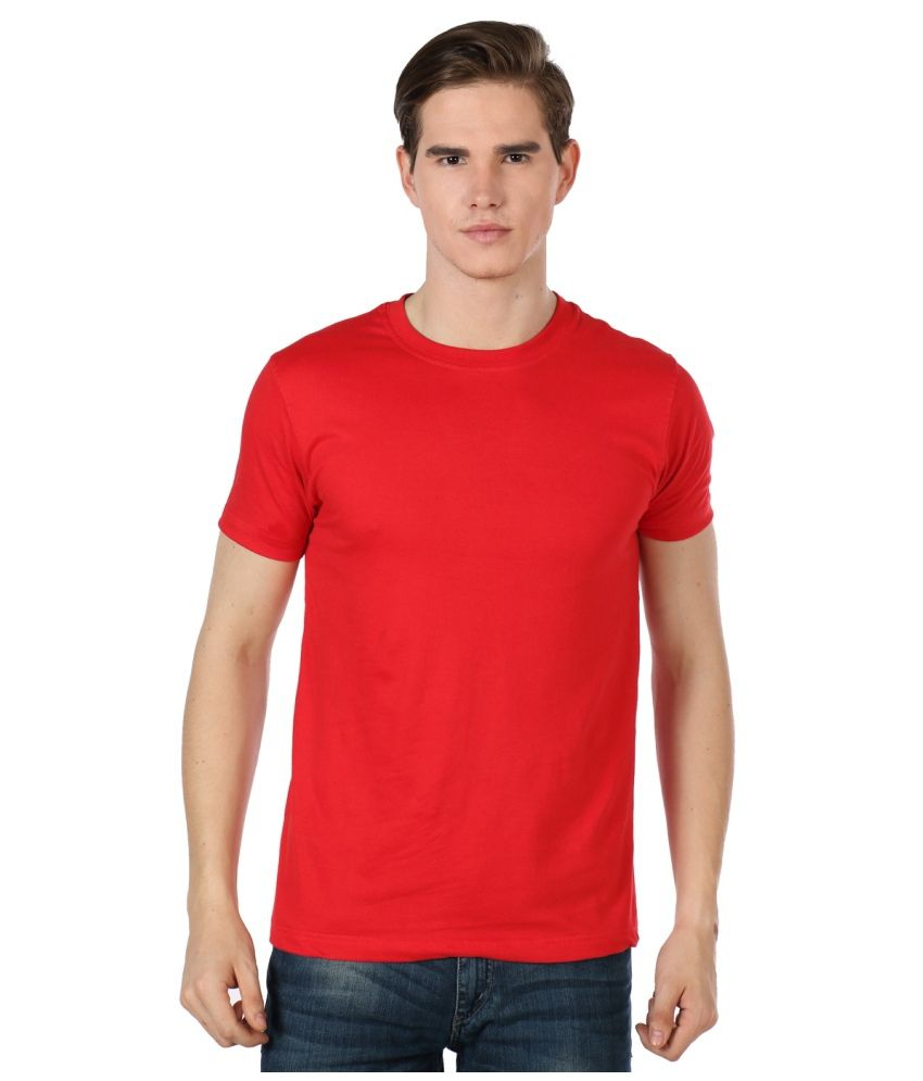 Alpha Cotton Red Half Casual T Shirts For Men