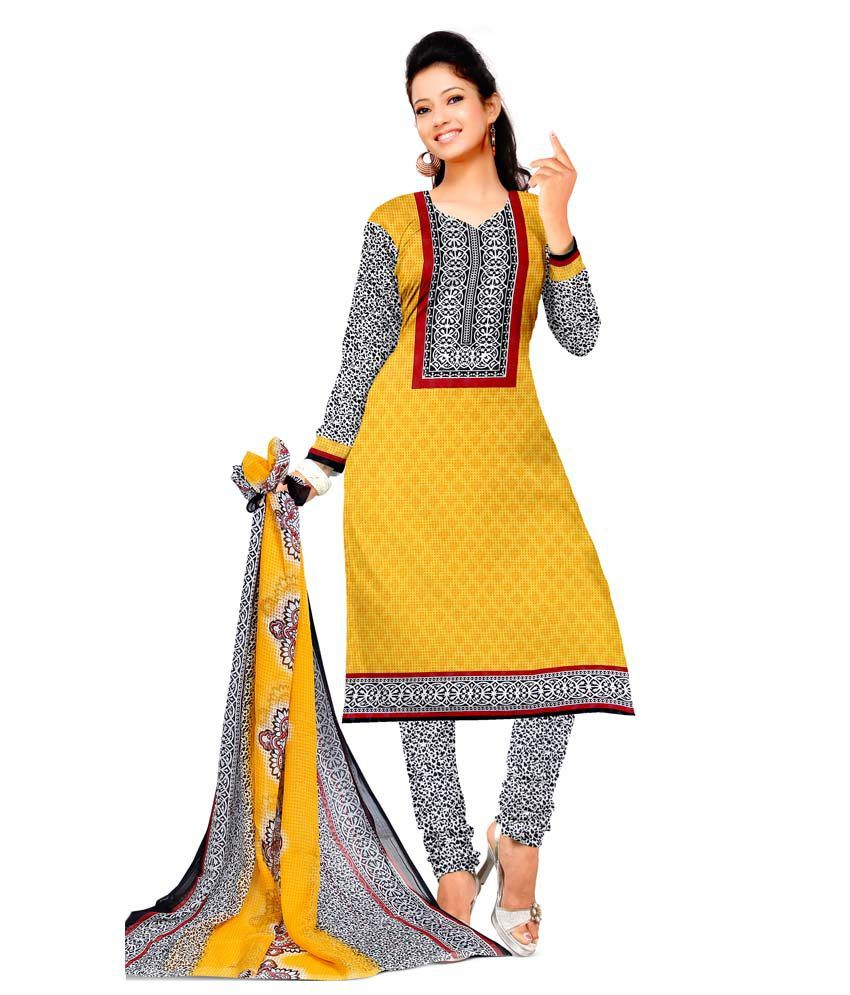 Dnveens Yellow Cotton Printed Dress Material