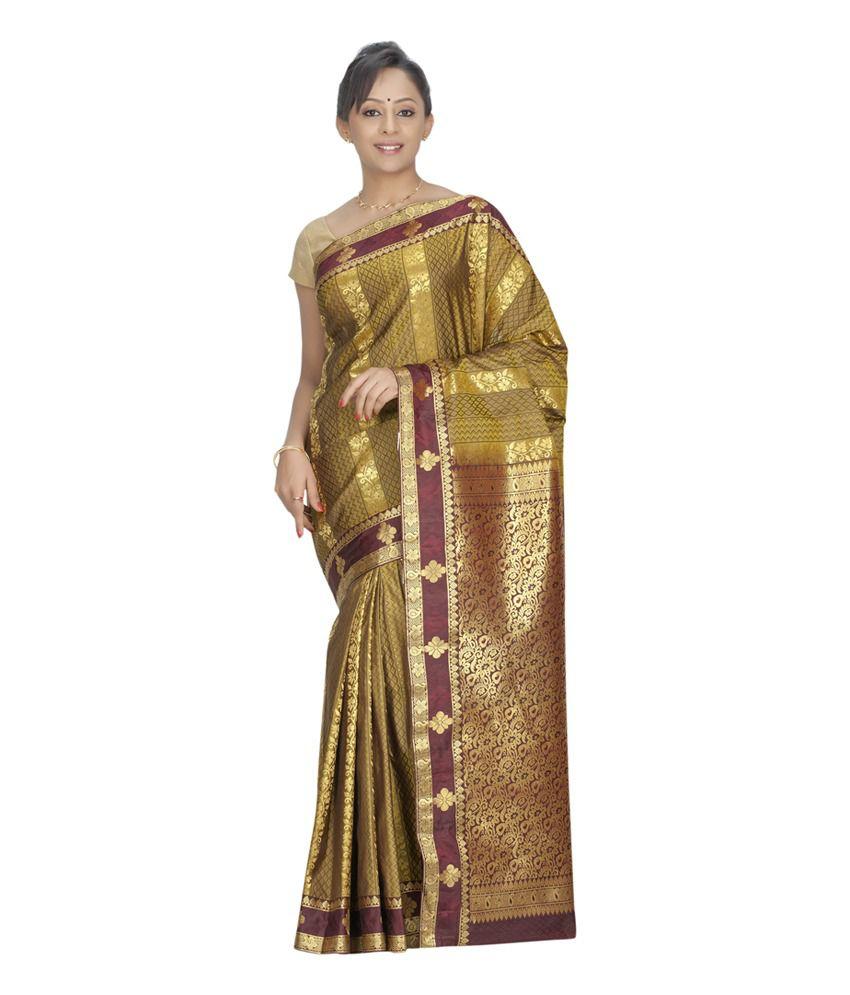 Fashiontra Multicolour Plain Art Silk Saree With Blouse Piece