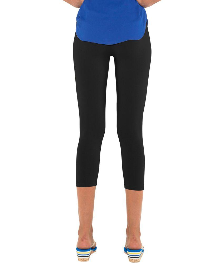 110655fa0eb045 Buy Go Colors-Black-Ladies 3/4 Leggings Online at Best Prices in ...