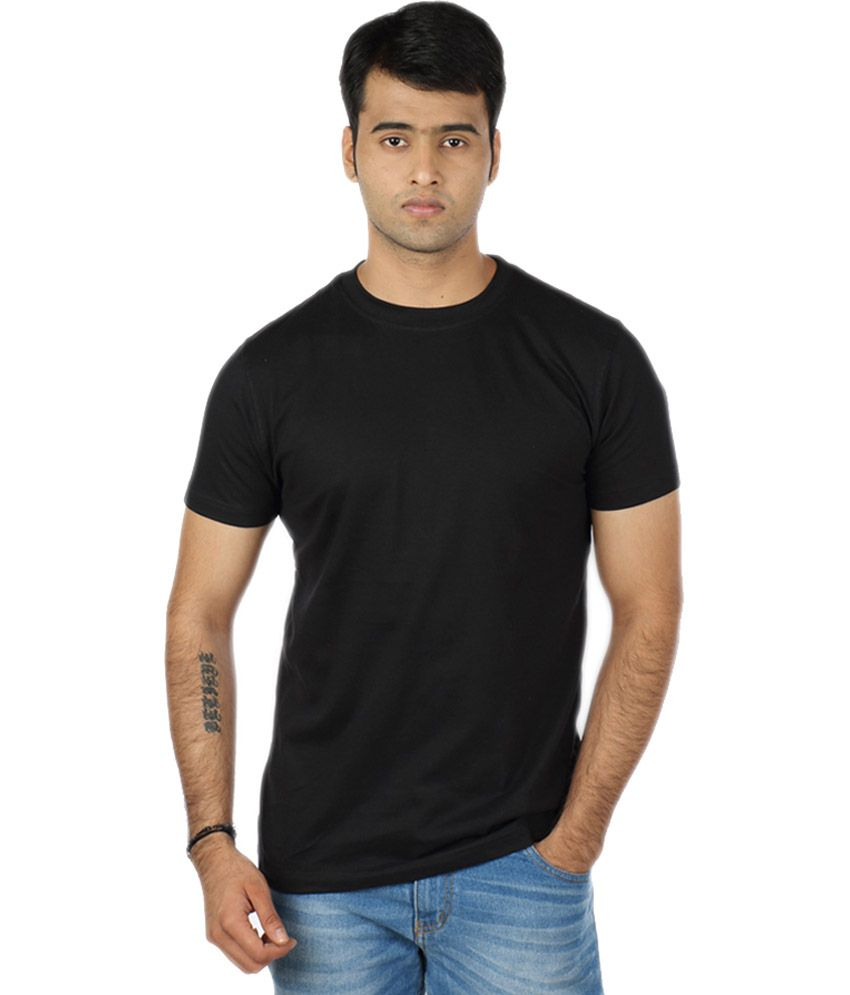 Look Me Ladies And Gents Fashion Black Cotton Blend Half Sleeves Round Neck T Shirt