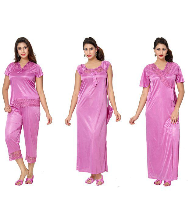 Buy Go Glam Pink Satin Nighty   Night Gowns Pack of 4 Online at Best Prices  in India - Snapdeal 51d2f49b2