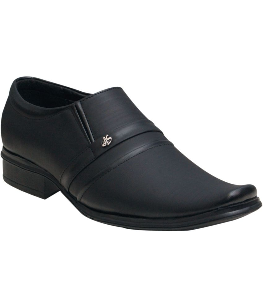 where to buy 00RA Black Slip On Artificial Leather Formal Shoes new cheap price 4wgfmw9