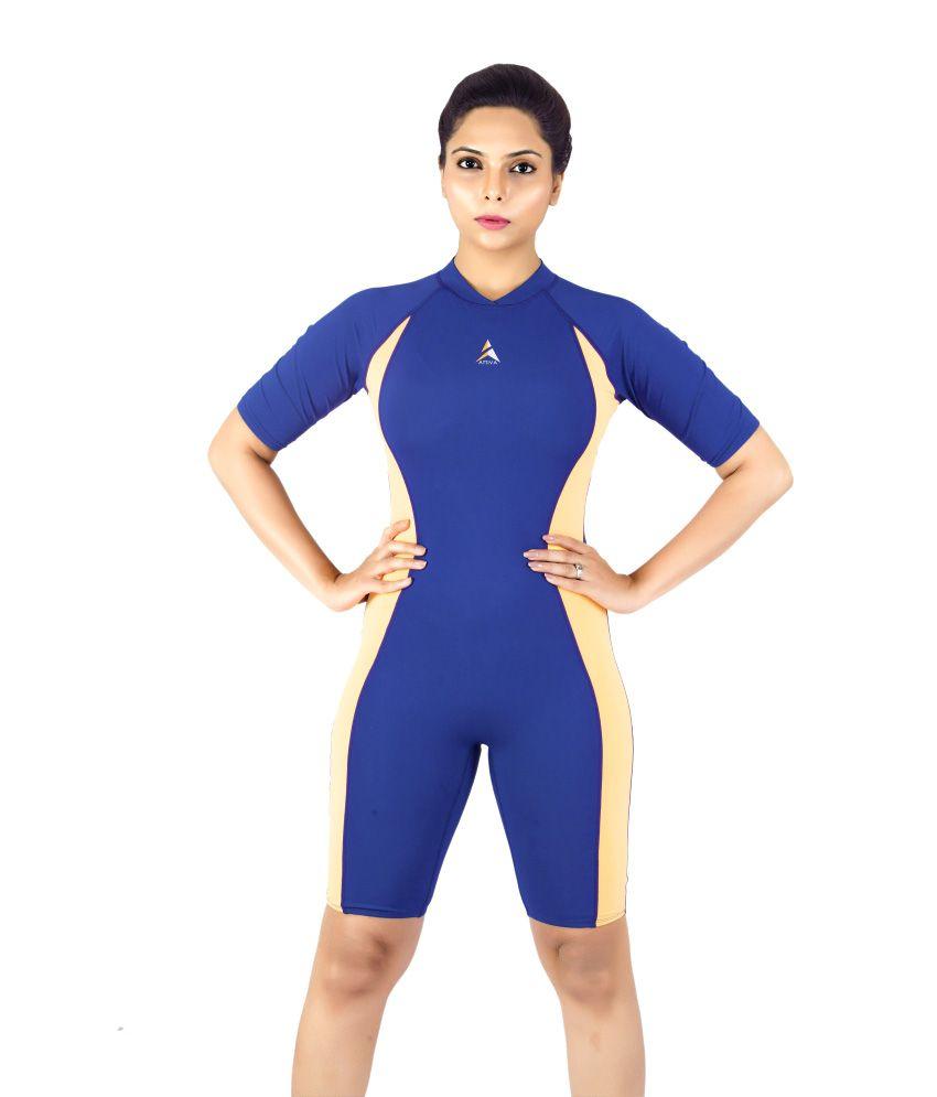 Attiva Navy and Orange Polyamide Lycra Swimwear/Swimming Costume For Women