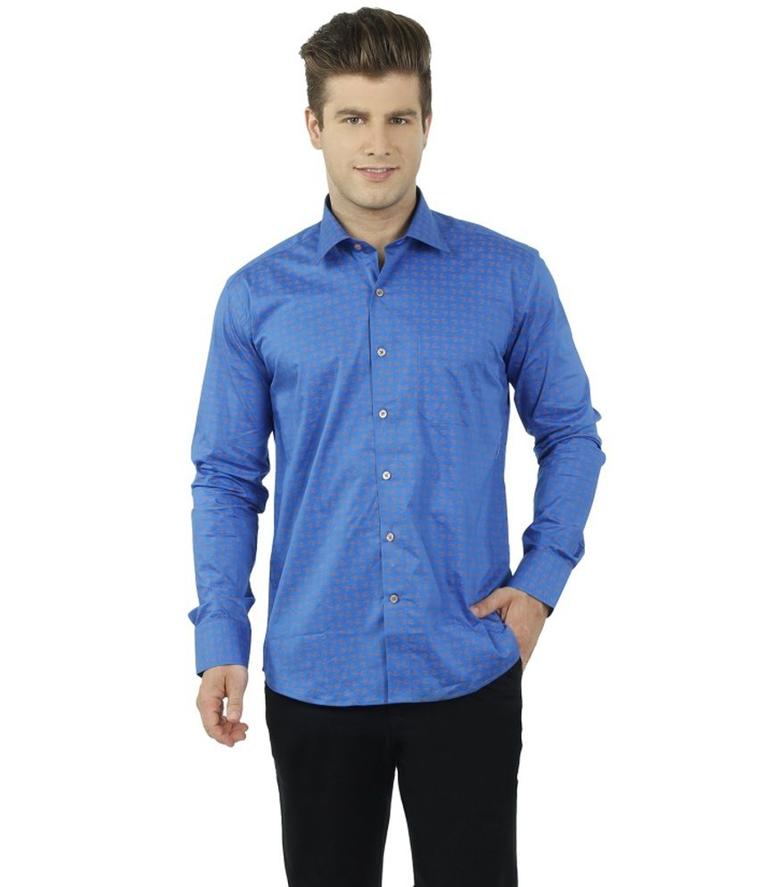 Lewis Marker Cotton Blend Blue Full Sleeve Formal Shirt For Men