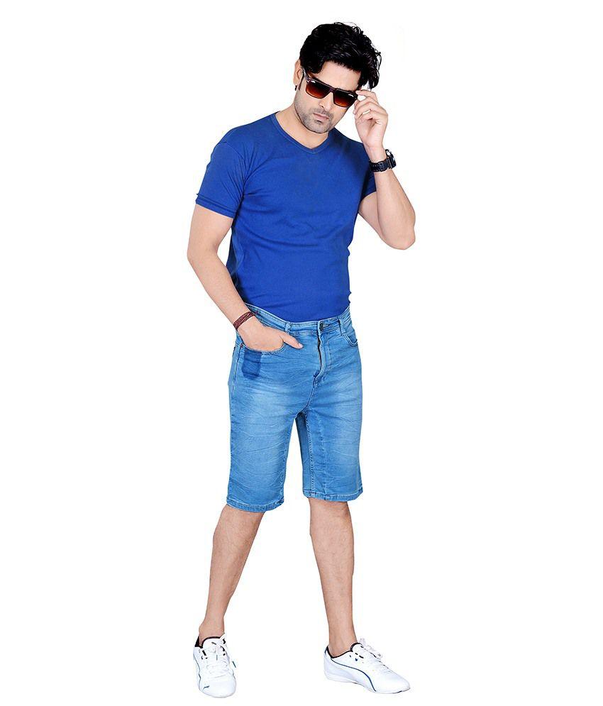 No Excess Blue Cotton Blend Shorts