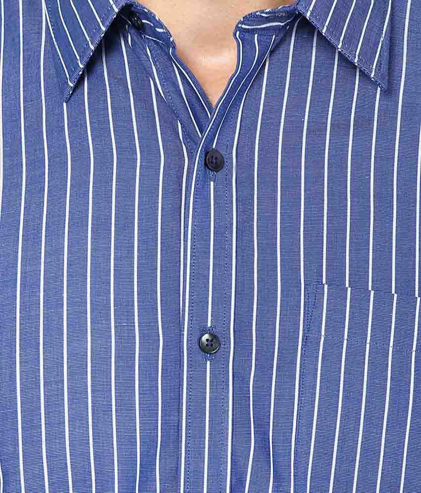 0b25675824 ... Paul Wilson White & Dark Blue Base Cotton Blended Stripes Formal Shirt  for Men
