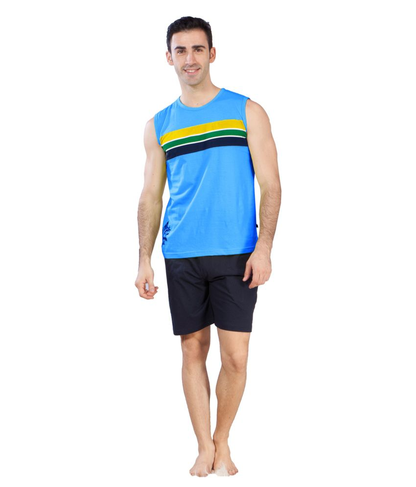 Sweet Dreams Men's Ocean Blue Single Jersey Sando T-shirt
