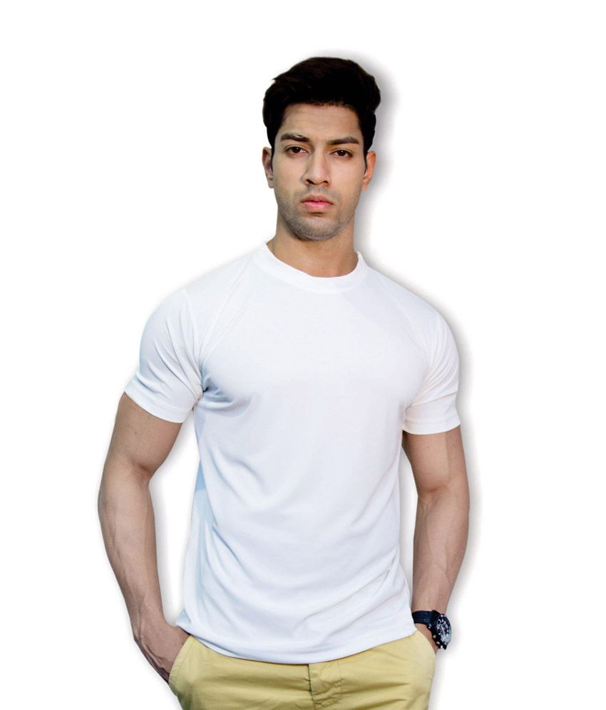 United Squares White Round Neck T Shirt