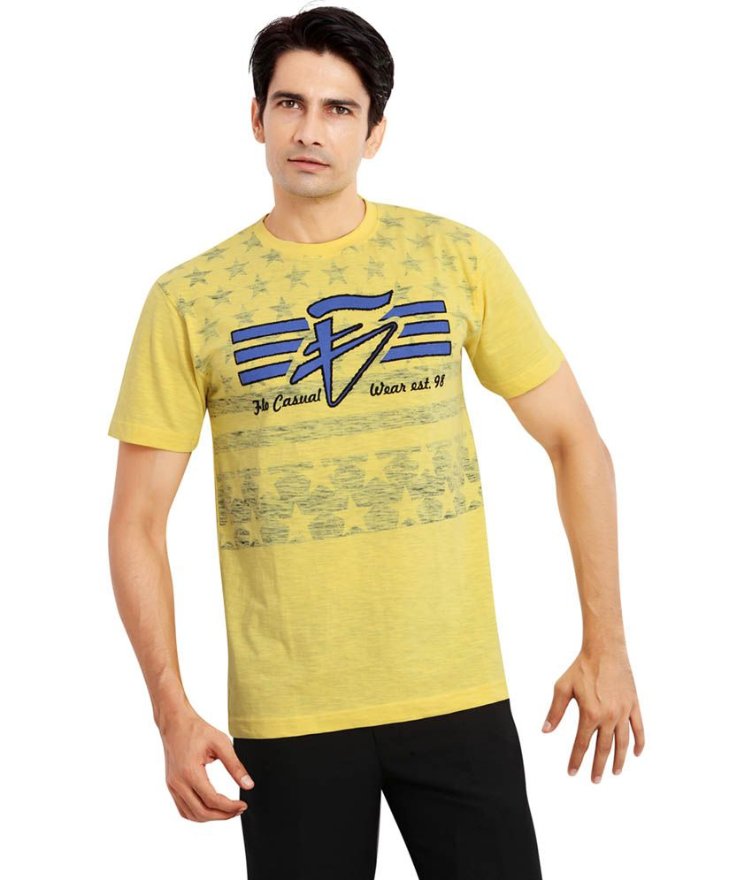 Fulon Yellow Round Neck T Shirt