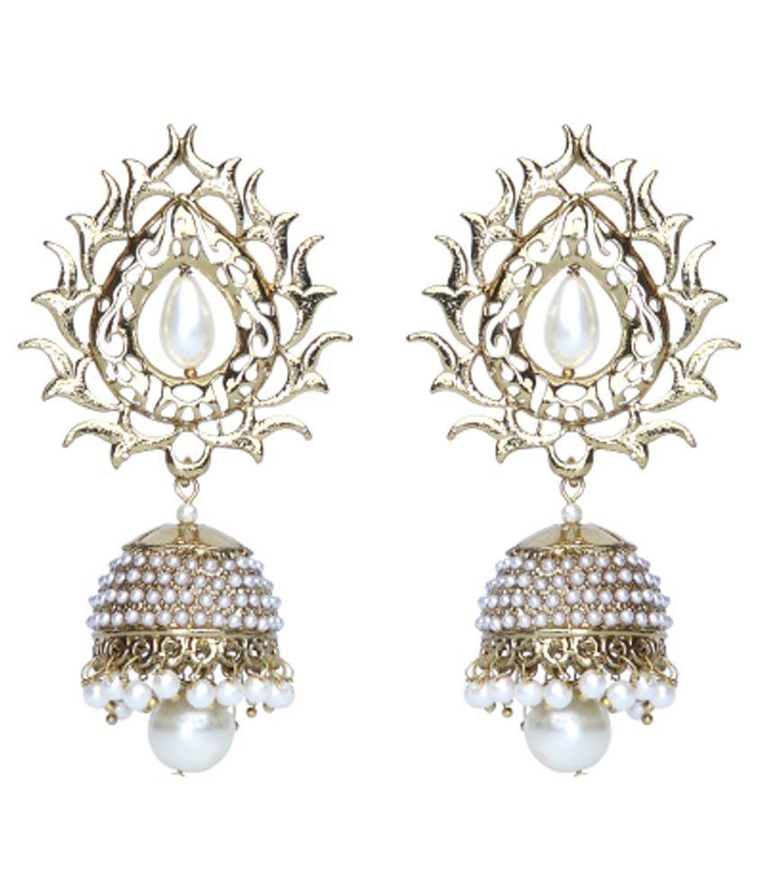 Rich Lady Golden Alloy Polki Studded Drop Earrings