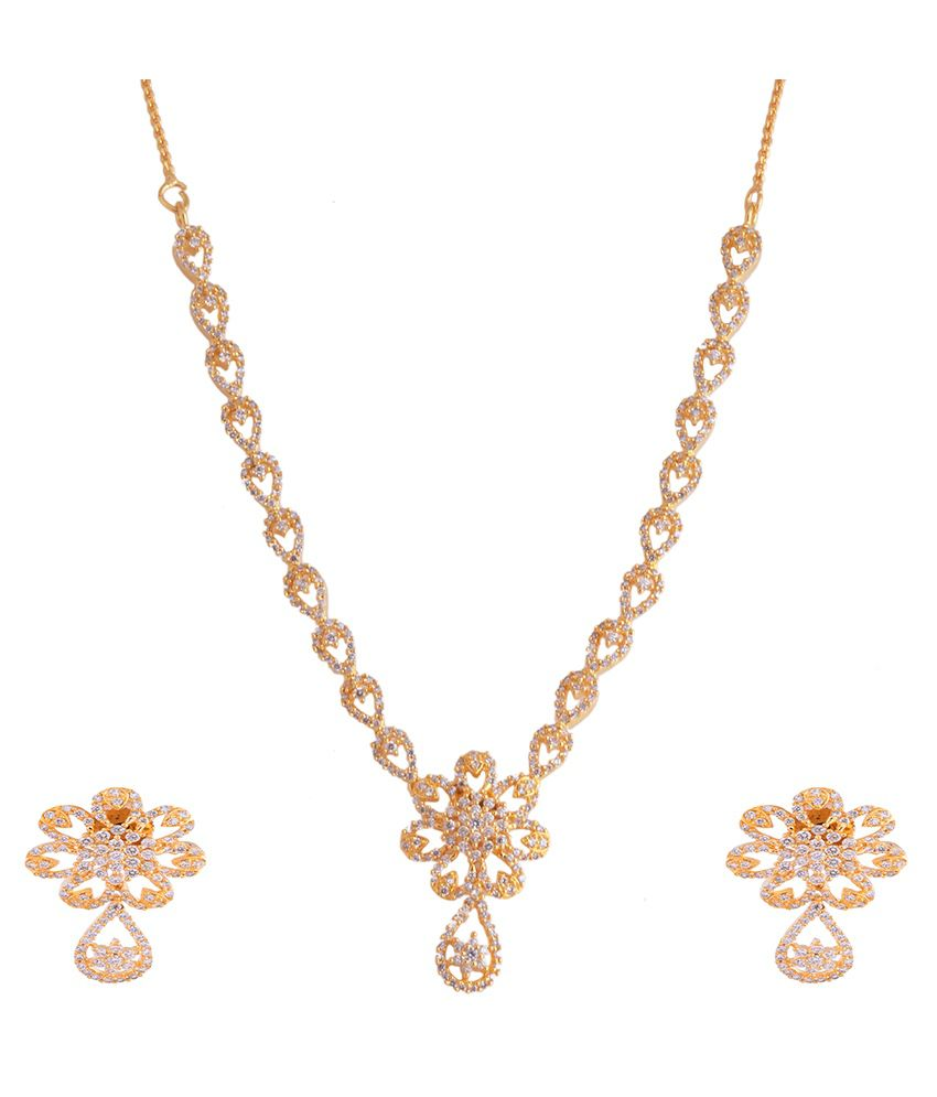 51ac3a2c287c 1 gram gold plated necklace set with white cz stones - Buy 1 gram gold  plated necklace set with white cz stones Online at Best Prices in India on  Snapdeal