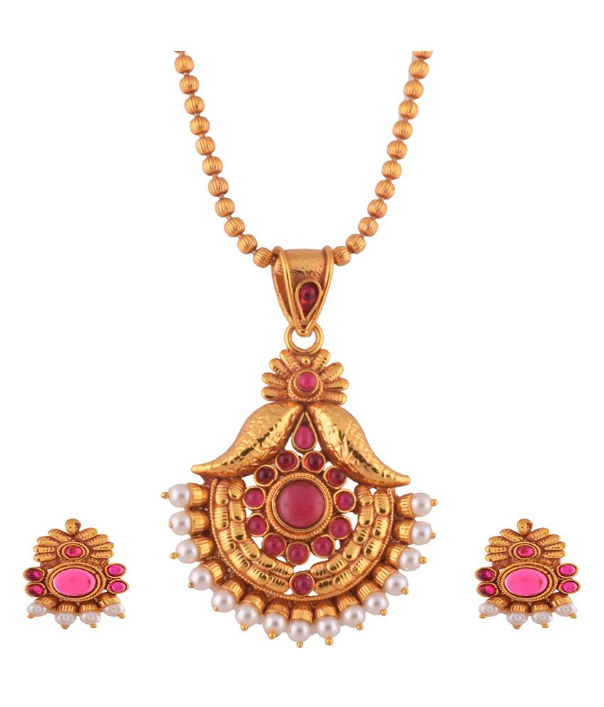1 gram gold plated temple design pandent set with ruby spinal stones 1 gram gold plated temple design pandent set with ruby spinal stones with chain aloadofball Image collections