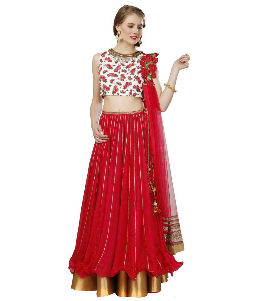 9ad5e8b4ab8932 Abhilasha   Abhishek For Glitstreet Red Lehenga With Dupatta - Buy Abhilasha    Abhishek For Glitstreet Red Lehenga With Dupatta Online at Low Price - ...