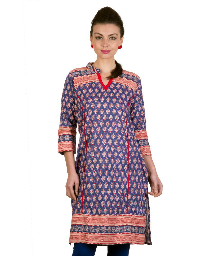 Ayaany Cotton Printed Knitted V Neck Kurti