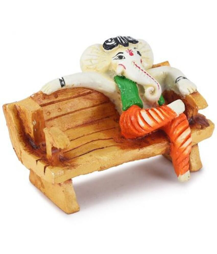 Earth Resin Ganesha On Sofa Showpiece