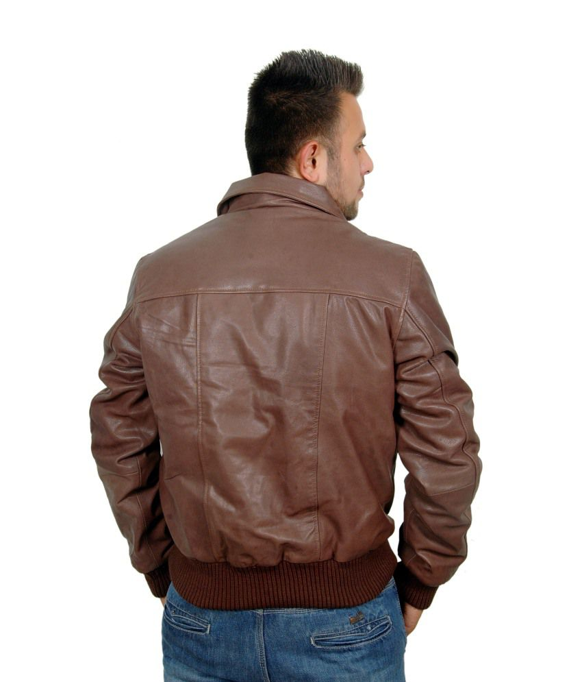 db89cbde1 V4M Brown Air Force A-2 Leather Flight Bomber Jacket - Buy V4M Brown ...