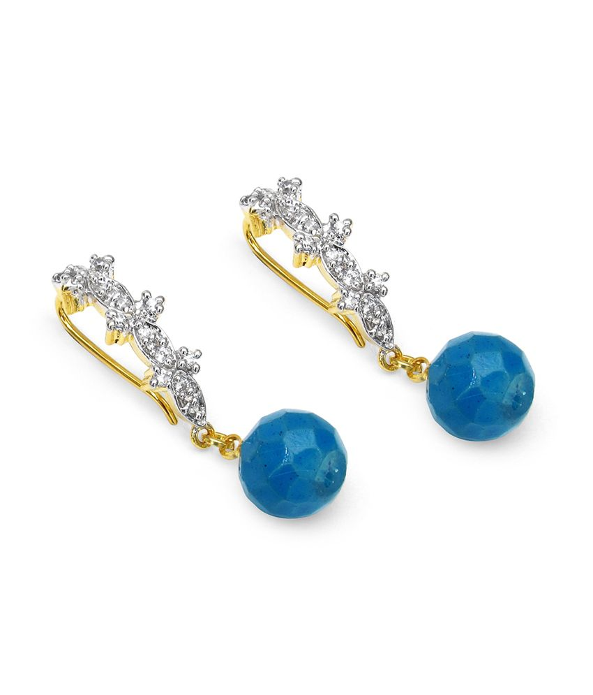 Aksh Blue Brass Colour Spark Drop Earrings
