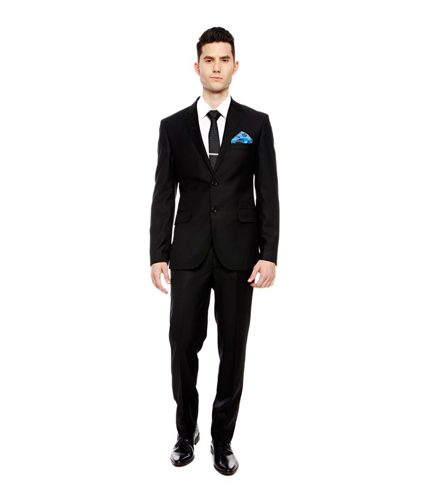 Brahaan BLUE TAG Black Slim Fit Single-Breasted Formal Suit