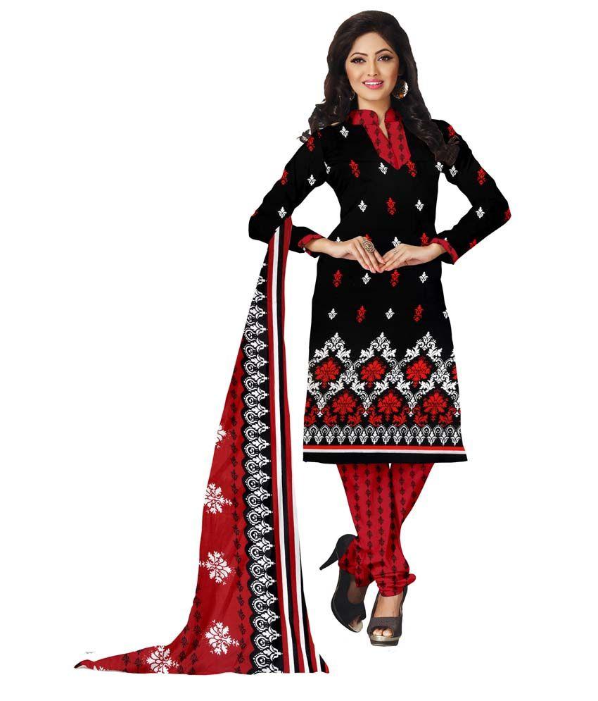 Jiya Black, Red Art Crepe Printed Dress Material