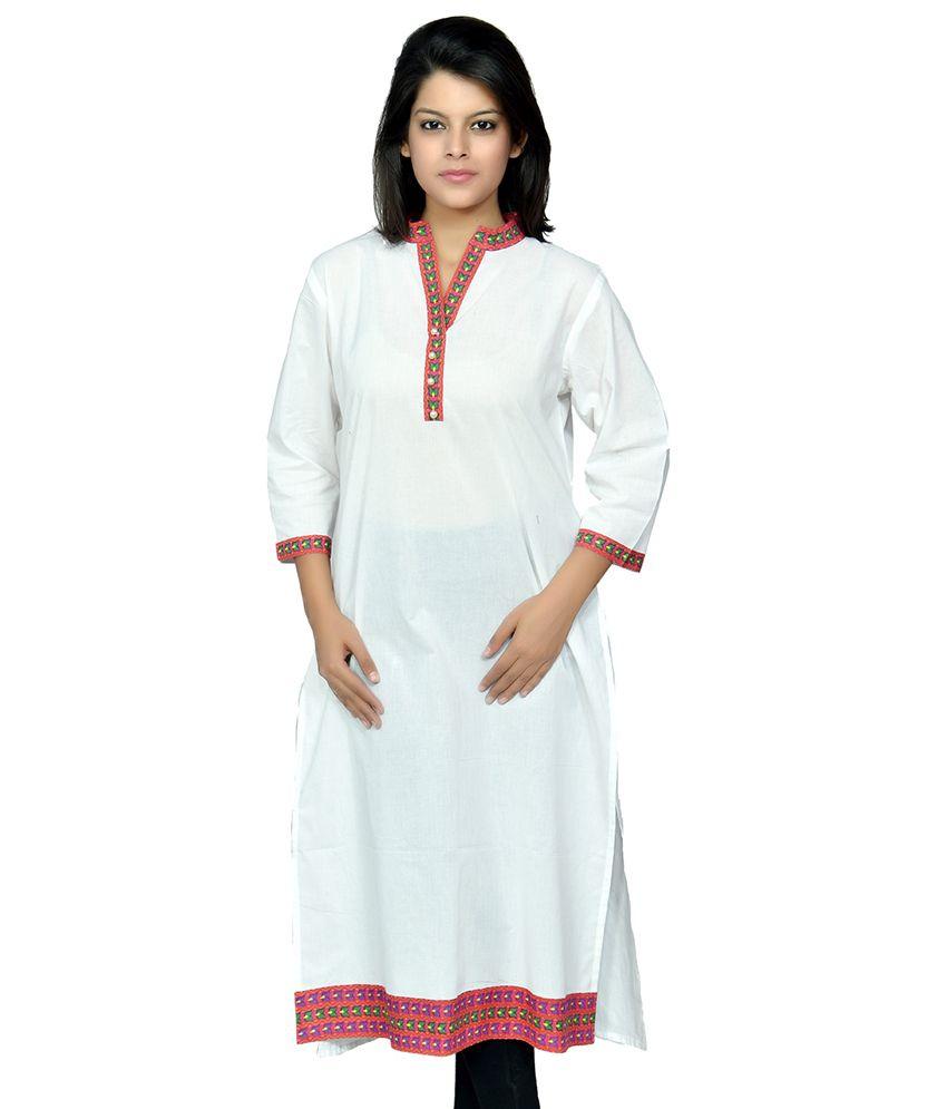 Nadhya Styles Women's Casual Wear White Cotton Kurti