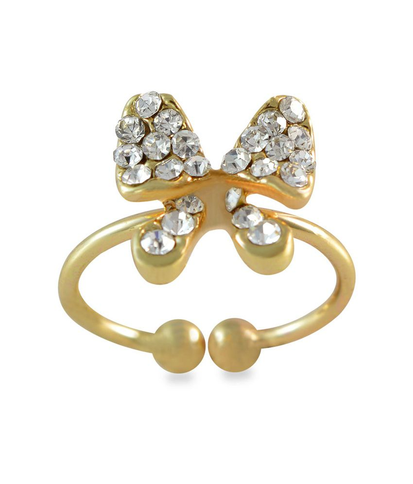 Sarah Bow Design Adjustable Elegant Golden Toe Ring