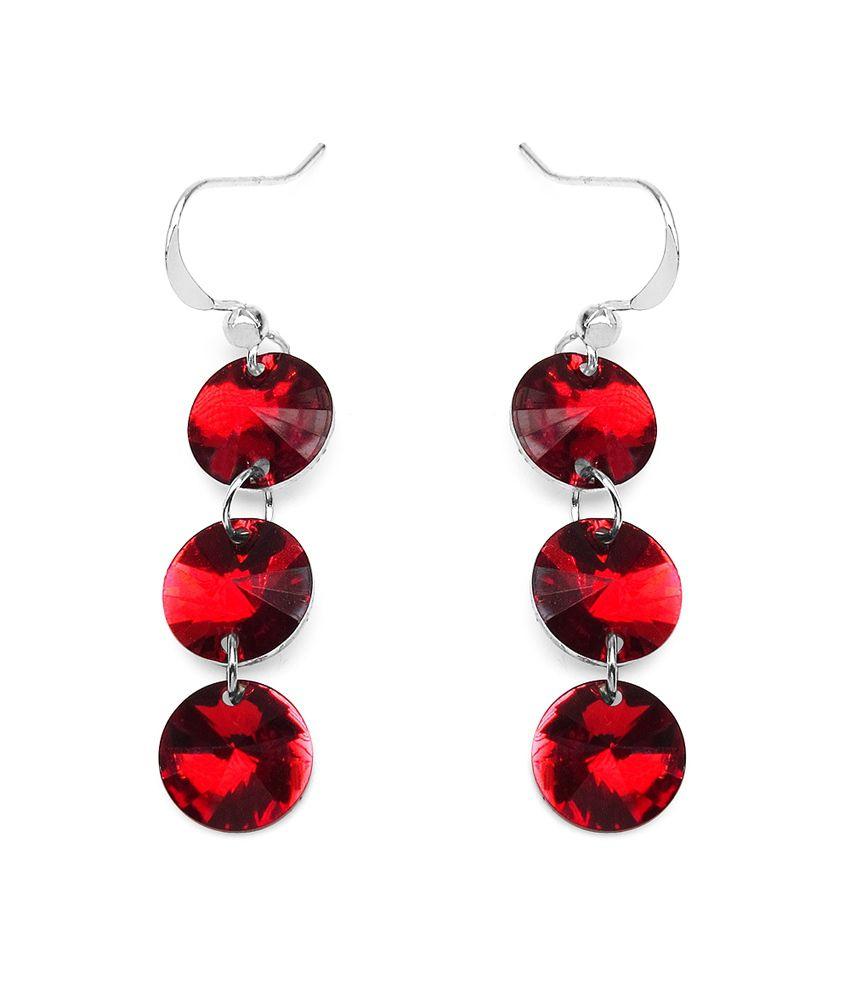 Aksh Red Alloy Earrings