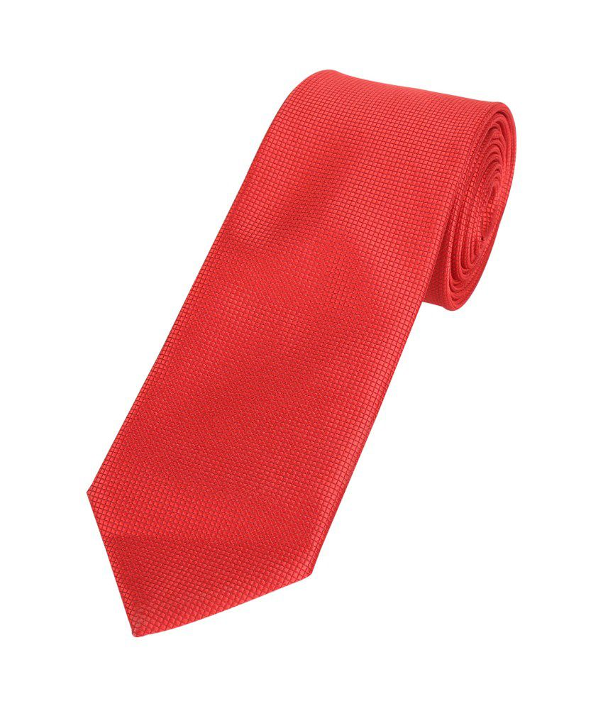Park Avenue Red Polyester Formal Narrow Tie