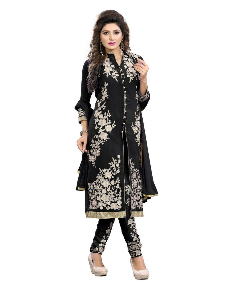 Shree Fashion Faux Georgette Black Embroidered Semi Stitched Suit Semi Stitched Suit