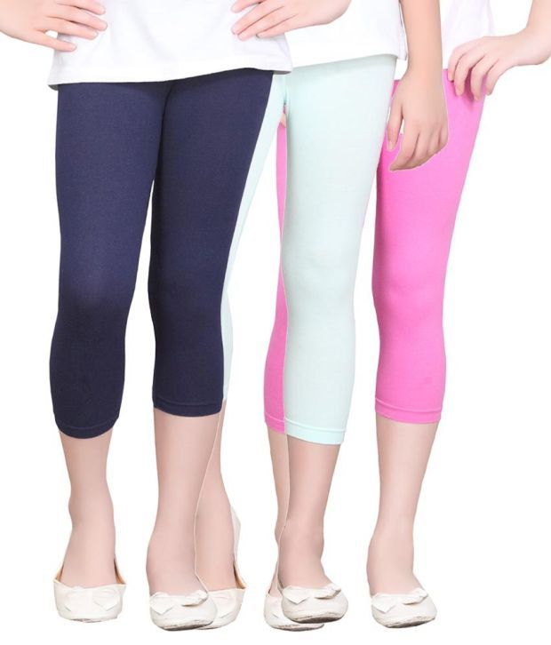 Sinimini Cotton Solids Designed Elastic Capris - Combo Of 3