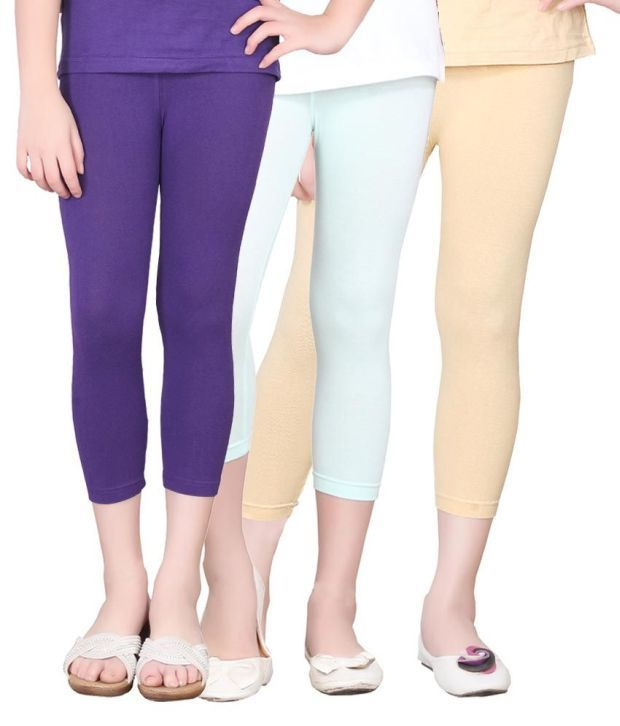 Sini Mini Cotton Solids Designed Elastic Capris - Combo Of 3