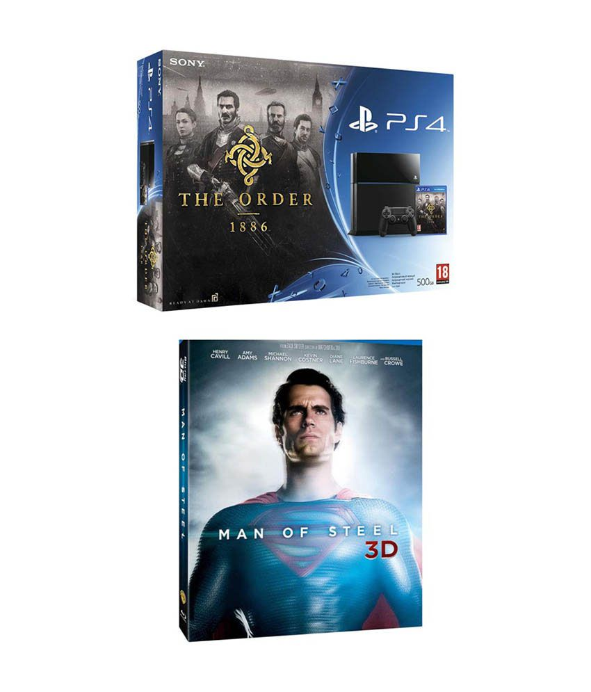 Sony Playstation 4 (PS4) 500 GB with Order 1886 Bundle & Man of Steel Blu-ray 3D