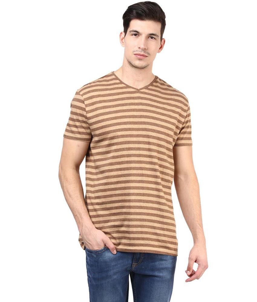 Tshirt Company Brown Cotton Half Sleeve V-Neck T-Shirt