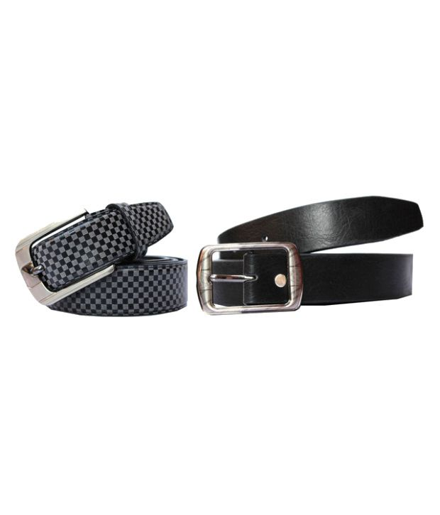 Winsome Deal Black And Gray Leather Belt For Men (Combo of 2)