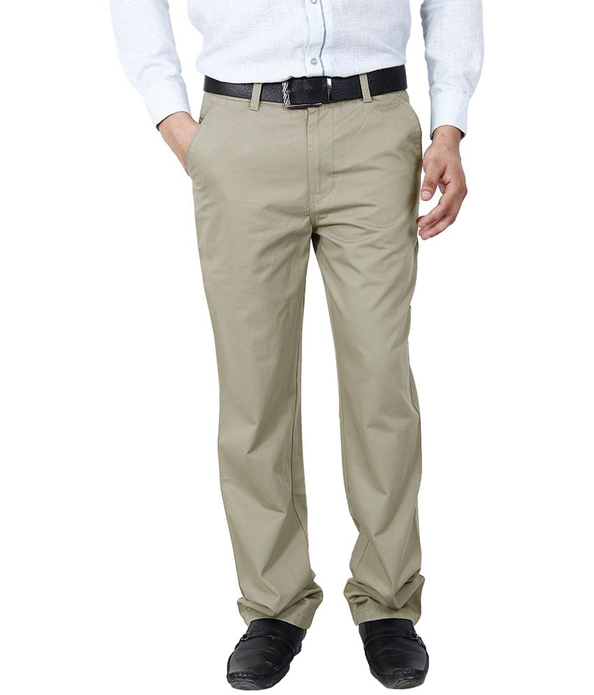 Crocks Club GoldenRod Cotton Regular Fit Formal Trouser