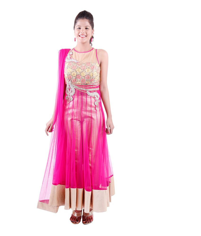 Design Studio 2 Pink Net Anarkali Stitched Salwar Suit