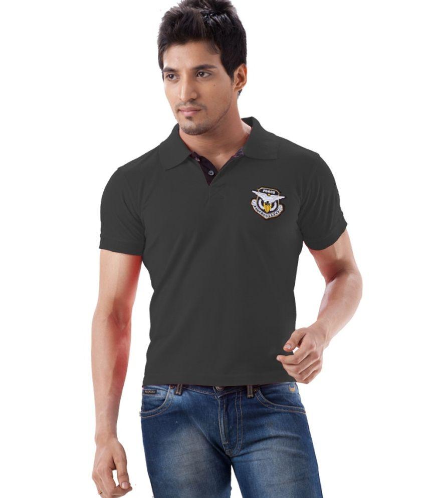 Dollar Force Gray Half Sleeves Cotton Polo T-shirt