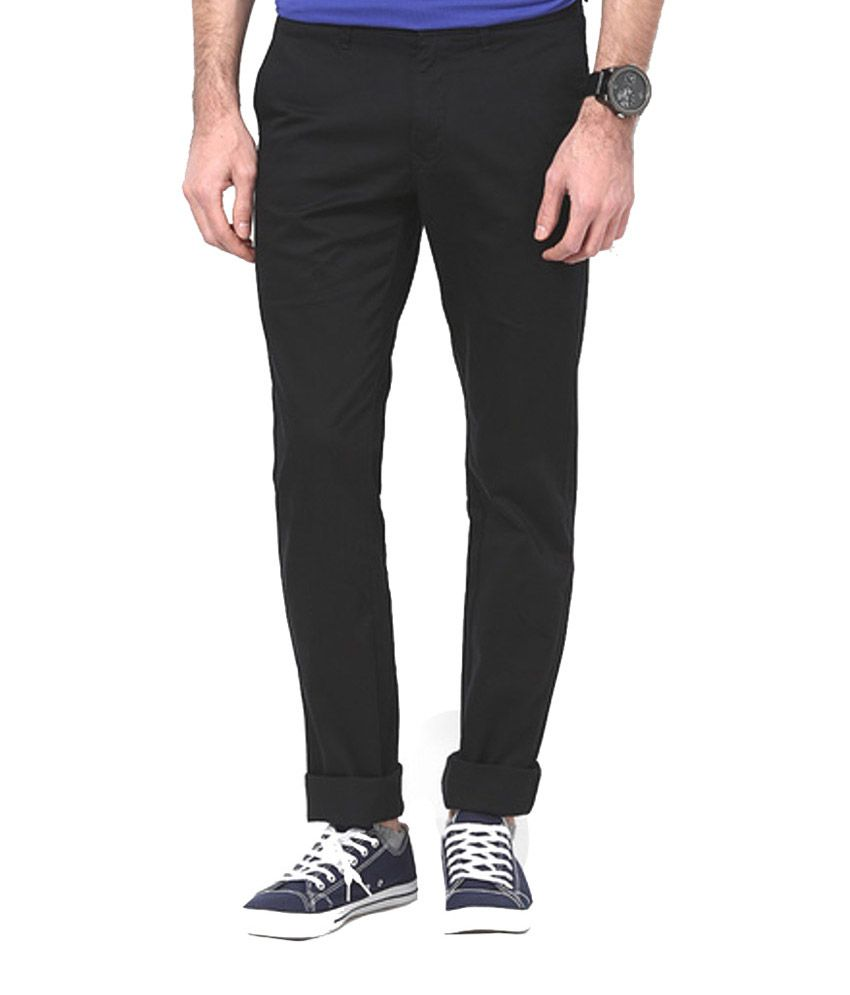 Integriti Black Cotton Slim Fit Trouser