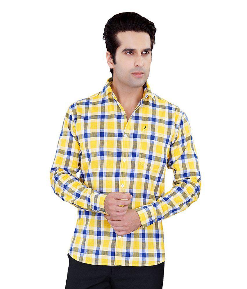 Jazzup Cotton Checkered Casual Shirt - Yellow