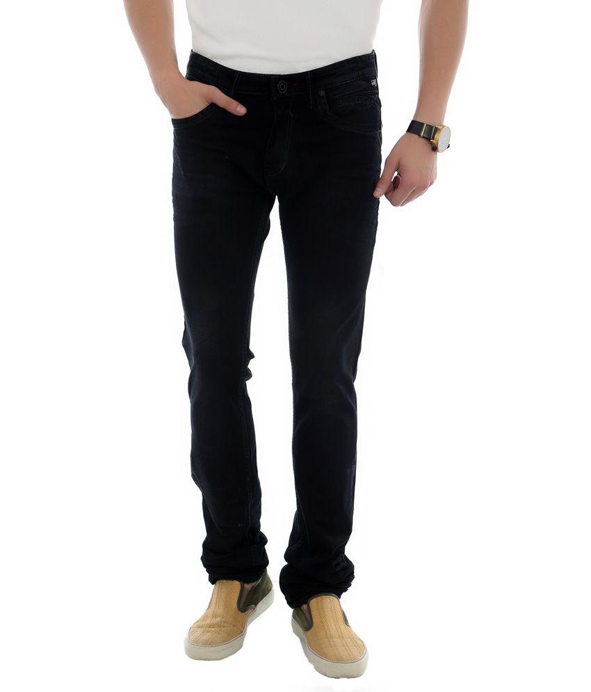 Unison Black Cotton Slim Fit Jeans