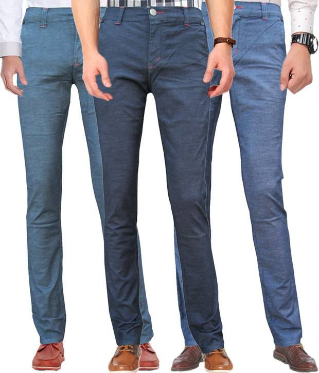 White Pelican combo of 3 multicolour stretchable slim fit jeans for men